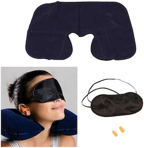 3 in 1 Super Soft Travel Neck Pillow Travel Kit - Inflatable Neck Air Cushion Pillow with Eye Mask & 2 Ear Plugs