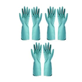 3 Pairs (6 Pcs) Reusable Pure Latex Rubber Hand Gloves For Household/Kitchen/Washing/Cleaning, Large Size