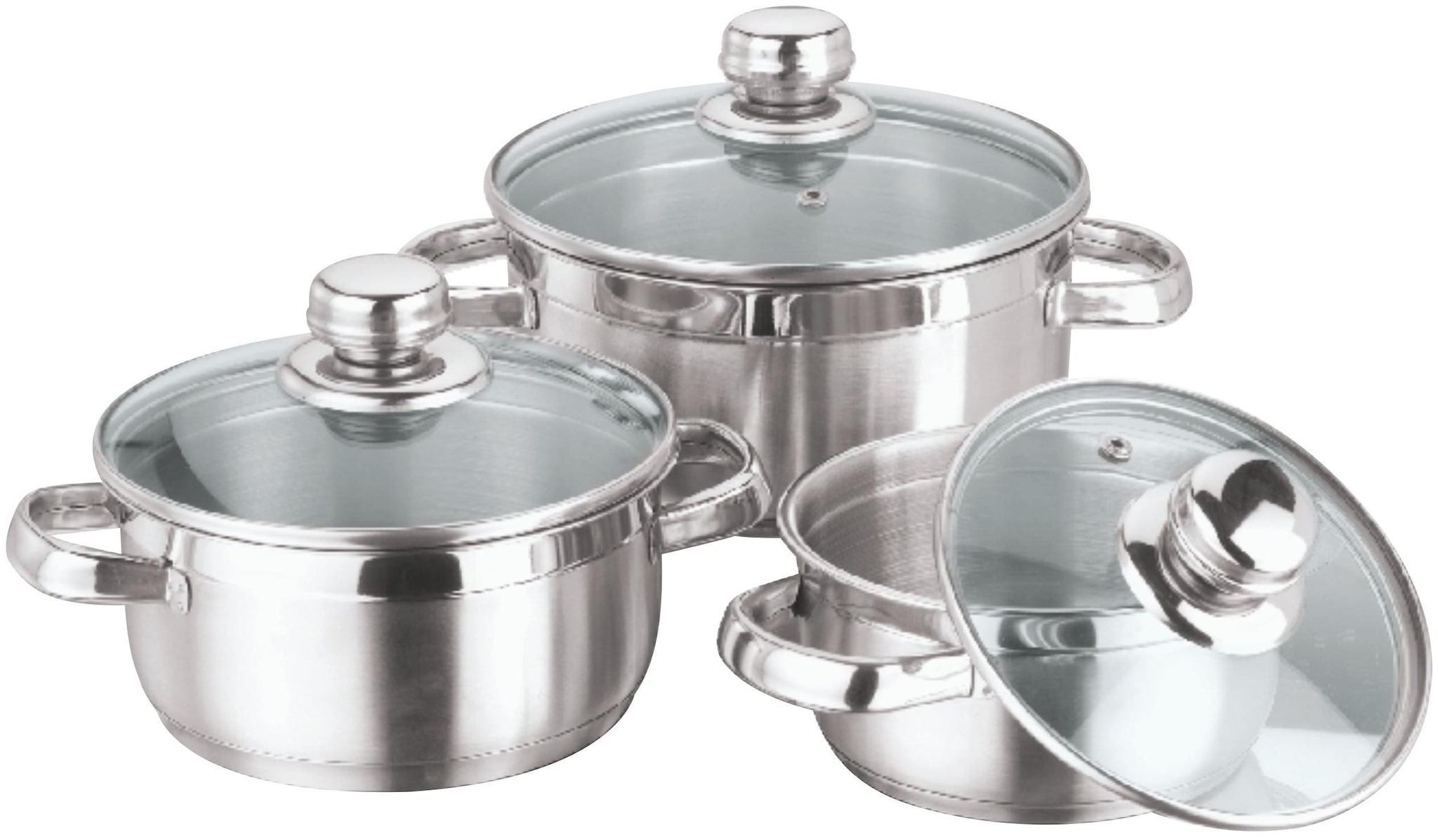 Vinod Stainless Steel Bremen Saucepot with Glass Lid - 3 Pieces(( 1...