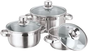 Vinod Stainless Steel Bremen Saucepot with Glass Lid - 3 Pieces(( 1 Ltr, 1.5 Ltr and 2 Ltr)