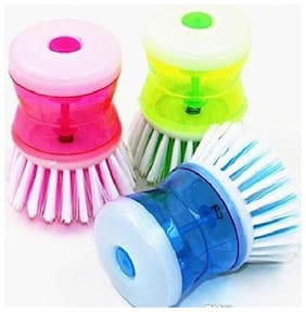 3 Pcs Cleaning Brush with Soap Dispenser For Kitchen Sink Dish Washer (Multicolor)