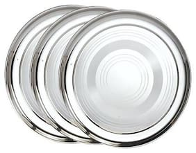 3 Pieces;Stainless Steel Dinner Plates;25 cm
