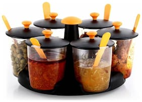 360 deg Revolving 6- Jar Multipurpose Stand / Achar Stand/Achar Container/Masala Stand/Pickle Stand/ Dining Stand/Masala Container,Orange(pack of 1) Condiment Set (Plastic)