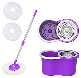 360 Degree Spin Floor Cleaning Easy Plastic Bucket Steel Mop with Two Microfiber Heads (Assorted Color)