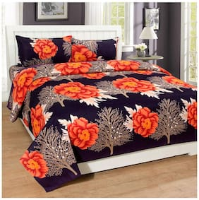 3D Bedsheet Printed Polycotton Double Bed Sheet With 2 Pillow Cover - Dark color based Floral print