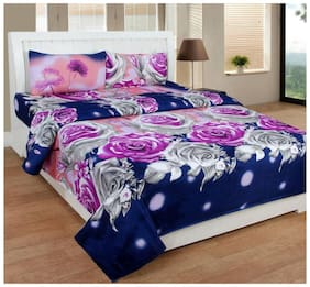 Thiwas Microfiber Printed Double Size Bedsheet 104 TC ( 1 Bedsheet With 2 Pillow Covers , Blue )