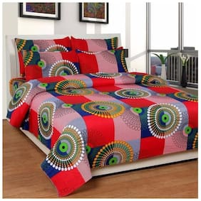 Thiwas Microfibre Printed Double Size Bedsheet ( 1 Bedsheet With 2 Pillow Covers , Multi )
