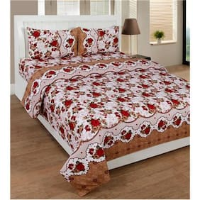 Handloomdaddy 3D Print Designer Double Bed Sheet With 2 Pillow Covers