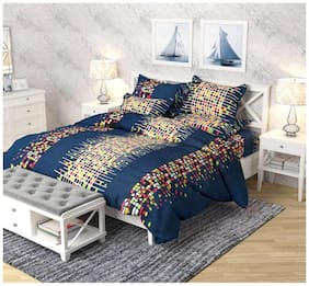 P. S. DECOR Cotton 3D Printed King Bedsheet ( 1 Bedsheet With 4 Pillow Covers , Blue )