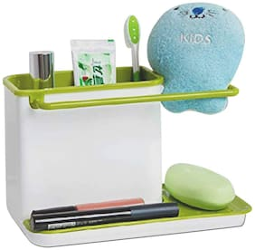 3-in-1 Kitchen Sink Organizer for Dishwasher Liquid, Brush, Cloth, Soap, Sponge, Self Draining (Assorted Color)