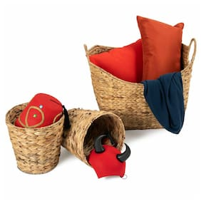 3PC Large Woven Seagrass Laundry Storage Basket Handles Home Decor