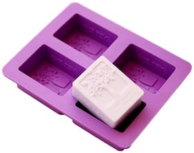 4 Cavities Rectangle Happiness Life Tree Silicone Soap Chocolate, Fondant Sugar bakeware Mold