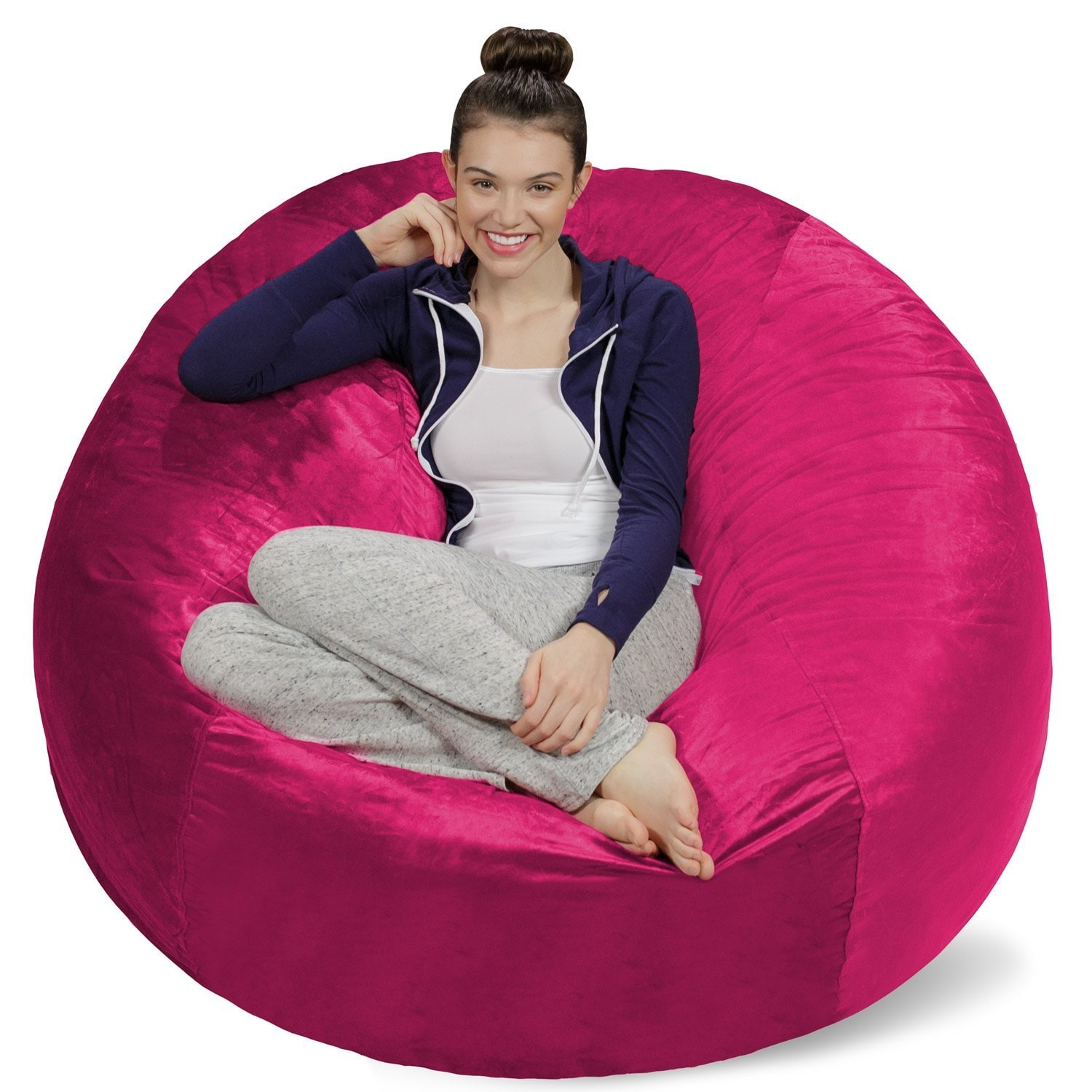 4 ft Bean Bag Chair Cover Only, Large Washable Furniture Bean Bag...