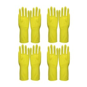 4 Pairs (8 Pcs) Reusable Pure Latex Rubber Hand Gloves For Household/Kitchen/Washing/Cleaning, Random Color, Medium Size, Total Weight 200gms