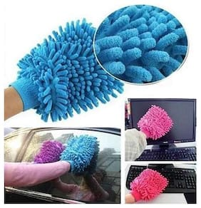4 pcs Double Sided Microfiber Car Window Washing Kitchen Dust Cleaning Gloves - Random Color