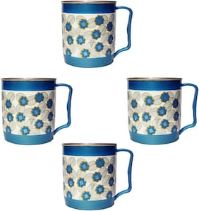 4 pcs kids Plastic and steel mug (250 ml, Any colour)