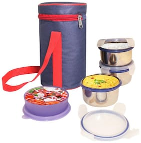 G-King Assorted 4 Containers Lunch box ( Set of 1 , 300 ml )