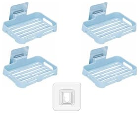 Tuelip 4 Soap Holder Plastic Wall Mounted Self-Adhesive Waterproof for Bathroom and Kitchen (Blue)