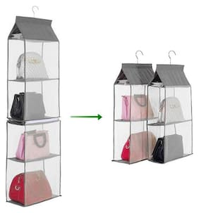 4-Tiers Non-woven Detachable Closet Bags Organizer Handbags Hanging Shelf Collapsible Clothing Accessories Storage Holder--Grey