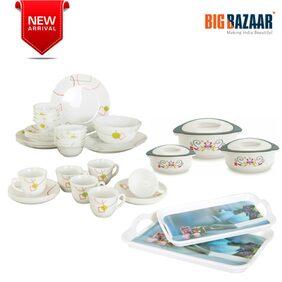44pc Combi of Dinner Set(Squircle)  Cup & Saucer Set Casserole Set & Melamine Tray Set