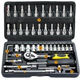 46Pcs Tool Box Car Motorcycle Repair Set Hand Tools Home DIY Kit Head Wrench NEW