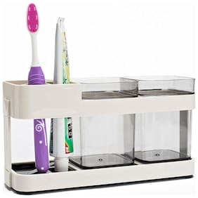 4square 2 Cups Toothbrush, Toothpaste Stand Holder, Kitchen & Bathroom Storage Organizer by 4s