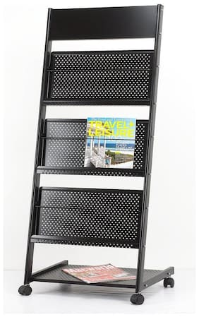 4square 3-Tray Magazine Rack or Newspaper Stand Curve Safe Catalog Stand, Magazine Stand,Portable Brochure Stand, Catalog Stand Black