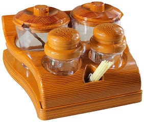 4square All in one Multipurpose Salt,Pepper Set with 2 Pickles/Sugar jar spice rack