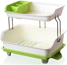 4square Cupboard Plastic Kitchen Drain Dish Rack with Drain Tray Tableware Cutlery Storage Box Put Dish Rack Drain Rack  (Green), Kitchen Organizer/Kitchen Organiser