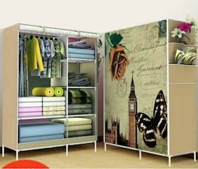 4Square Dreamworld Portable Wardrobe Storage Organizer With Shelves 5.5 ft Folding Wardrobe