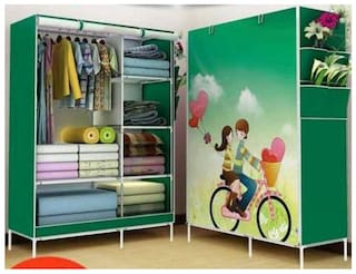 4square Folding Wardrobe Cupboard Almirah Foldable Storage Rack Collapsible Cabinet by 4s