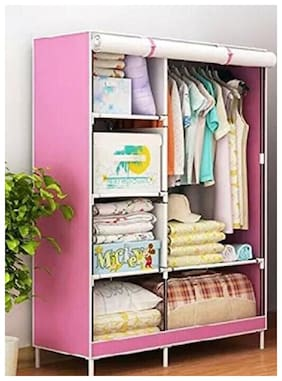 4square Vel Wardrobe Organizer, Storage Rack for Kids and Women, Clothes Cabinet, Bedroom Organizer colour & pattern as image by 4s