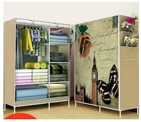 4square Wardrobe Organizer Rack for Kids and Women Clothes Shelf Storage Cabinet Bedroom color pattern as par image by 4s