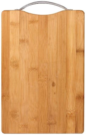4square Wooden Bamboo Kitchen Chopping/Cutting/Slicing Board with Holder for Fruit & Vegetables(Color in Photo) (Wooden) (32 x 22 x 1.8cm)