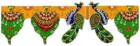 """5"""" * 44"""" In 1 Wooden Handmade Decorative FOLDABLE Bandarwal Door Hanging/ Traditional Wooden Wedding Door Hanging/ Diwali Door Hanging/ Wooden Door Hanging/ Wall Decoration Showpiece (Green)"""