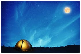 5 Ace Yellow Camping Tent Under Many Stars Wall Paper Poster