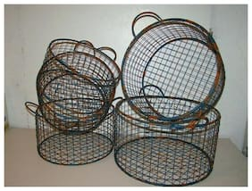 5 New Lone Elm Chicken Blue Rusty Chippy Wire Industrial Metal Baskets Round