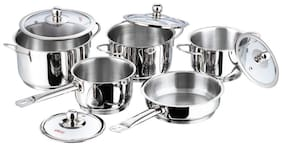 Vinod Stainless Steel Induction Friendly Tuscany Casserole with Glass Lid 5-Pieces, Silver
