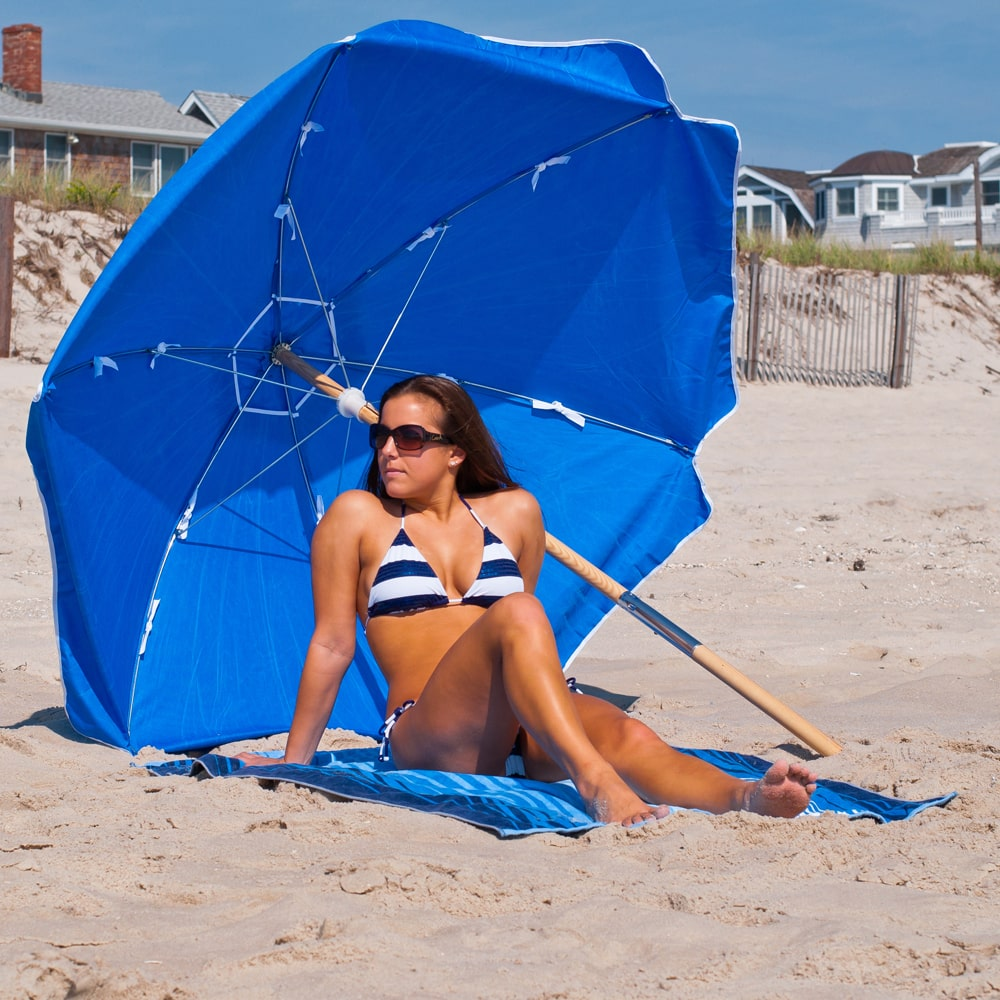 6.5 ft Heavy Duty Shade Star Steel Beach Umbrella Ash Wood Pole Olefin Fabric