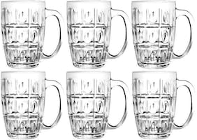 Dollar store 6 CLEAR DIAMOND DESIGN BEER MUGS