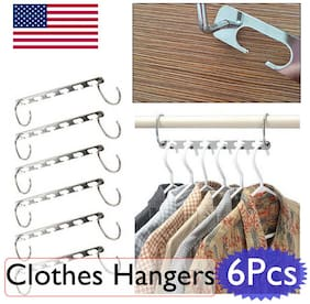 6pc Space Saver Saving Hangers Clothes Wonder Magic Hanger Closet Organizer Hook