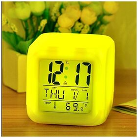 7 Color Changing Clock Cube Desk Night Table Alarm Clock Glowing Digital Alarm Clock LED Watch Practical Decorating Thermometer