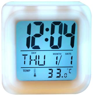 7 Color Changing Clock Square Shape Digital Alarm Table Clock With Calender Time Temperature (Pack of 1)