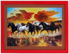 7 Horse Textured Uv Effect With Acrylic Glass Ink Painting - Abstract Modern Art Home Wall De cor Hangings Gift Items