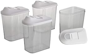 750 ml Set of-4 Easy Flow containers in Plastic material/white/D-247