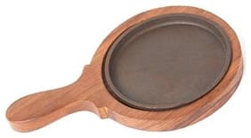 7inch Round Brownie Sizzler Plate With Handle Wooden Base and Cast Iron