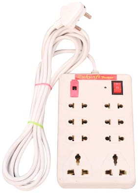 ZUKUNFT FASHION Multi Pin White Extension Board ( 2 m , 8 Socket , 1 Switches)