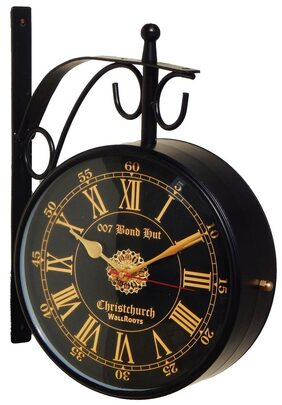 8 inch double sided antique design railway station clock with stand