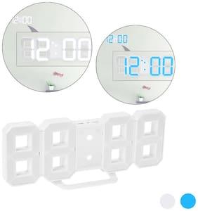8-Shape Large Digital LED Alarm Clock USB Operated Blue/White Light 12H/24H Display Adjustable LED Luminance Snooze Function Wall Clock Desk Alarm
