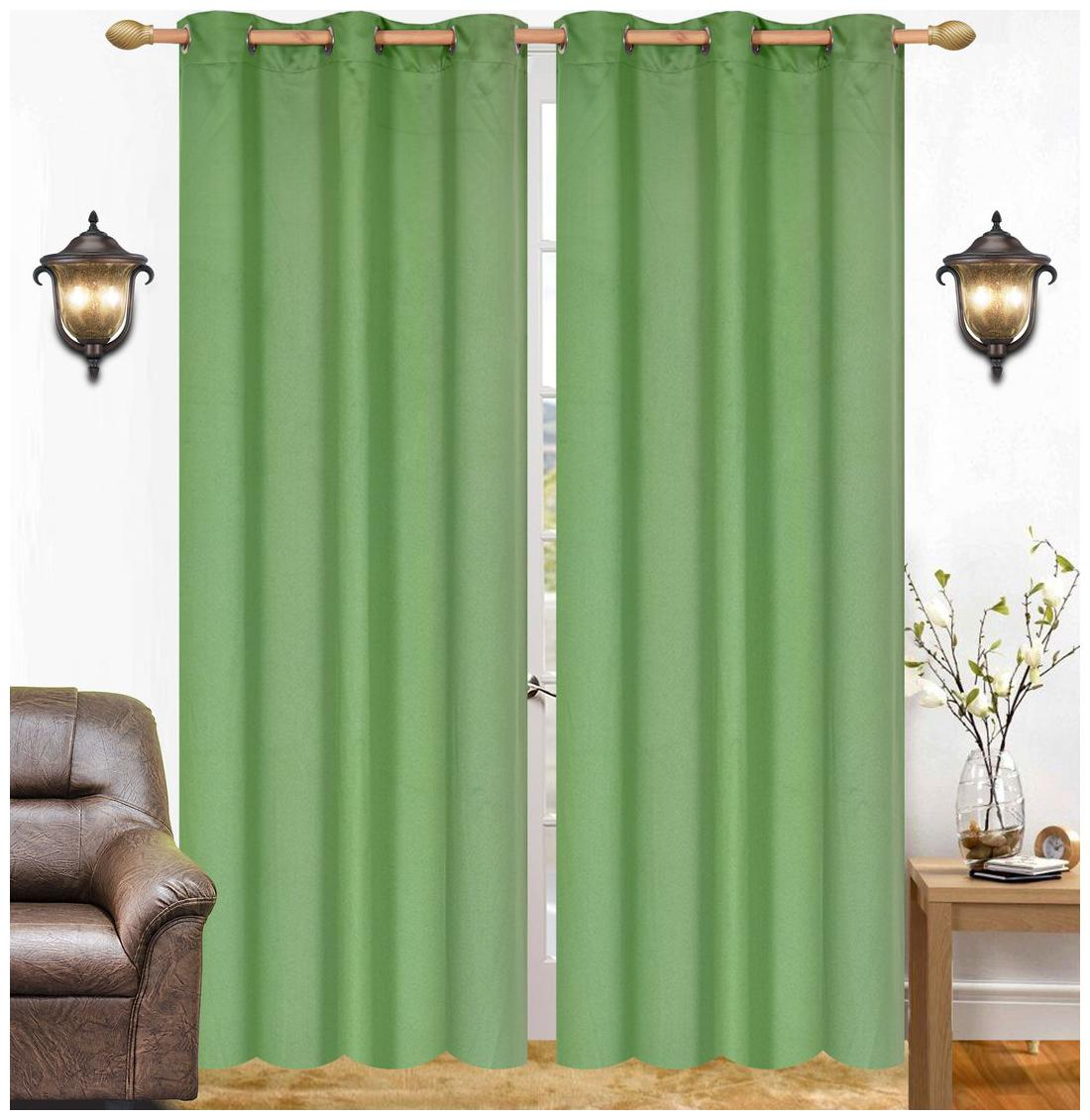 213.36 cm  84 inch  x 121.92 cm  48 inch  Brown Polyester Eyelet Door Curtain   Set of 2 by Azaani